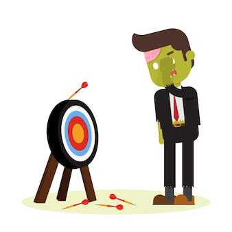 Zombie uomo d'affari manca l'obiettivo