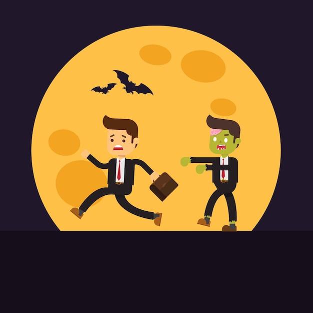 Zombie uomo d'affari per halloween, uomo d'affari vedere uno zombie