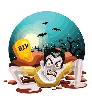 Zombies di halloween che escono dalla tomba