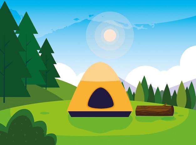 Zona campeggio con panorama del giorno delle tende