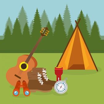 Zona campeggio con scena di tenda