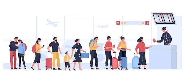 Zona di partenza dell'aeroporto. il registro di volo d'imbarco piano, turisti con bagagli nella coda di atterraggio controlla l'illustrazione