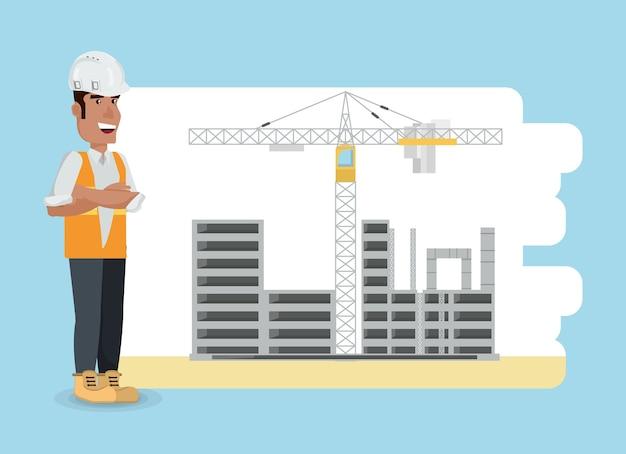 Zona in costruzione con gru a torre e ingegnere