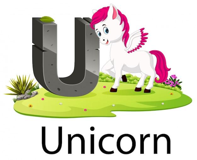 Zoo di animali alfabeto u per unicorno con la buona animazione