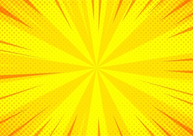 Zoom di semitono di stile comico arancione astratto del fumetto