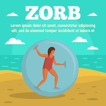 Zorb sul modello dell'insegna di concetto della spiaggia, stile piano