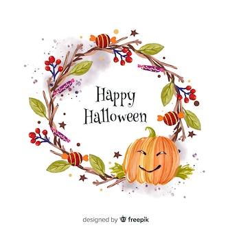 Zucca acquerello sfondo di halloween