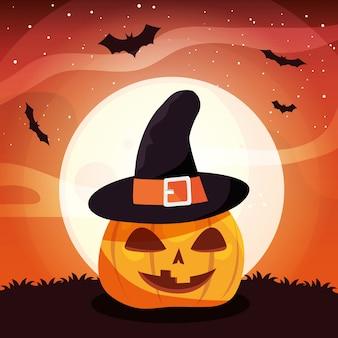 Zucca con cappello di streghe in scena di halloween