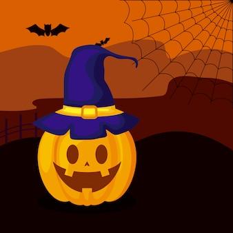 Zucca con cappello strega nella scena di halloween