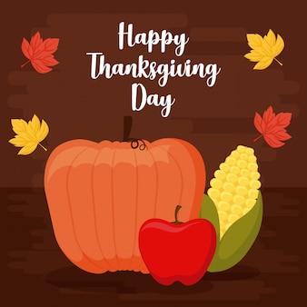 Zucca con mela e pannocchia di ringraziamento