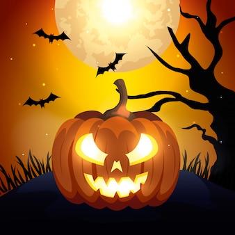 Zucca con pipistrelli che volano in scena halloween