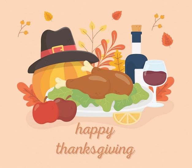 Zucca delle mele del vino di tacchino arrostito ringraziamento felice con la celebrazione del fogliame del cappello