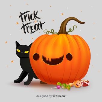 Zucca di halloween carino realistico con gatto