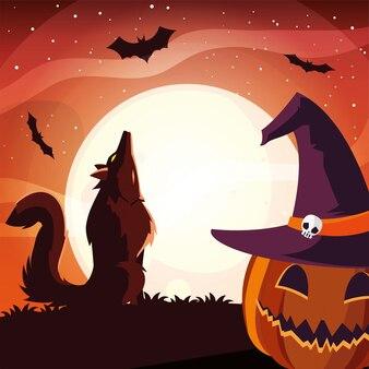 Zucca di halloween con cappello da strega