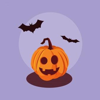 Zucca di halloween con i pipistrelli che volano