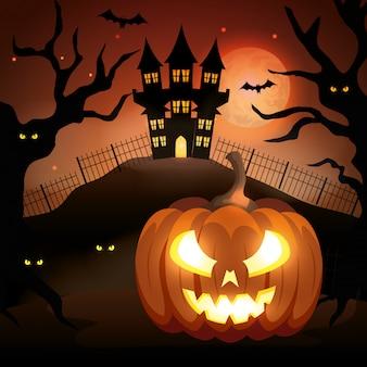 Zucca di halloween con il castello infestato nella notte oscura