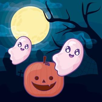Zucca di halloween con il fantasma sulla scena di halloween