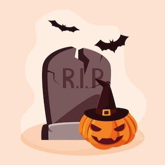 Zucca di halloween con pietra e pipistrelli