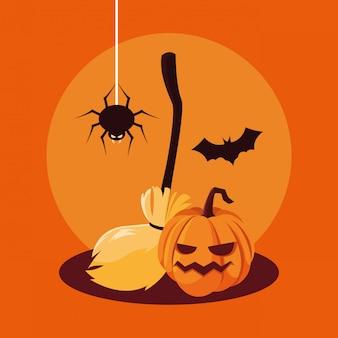 Zucca di halloween con pipistrello e ragno