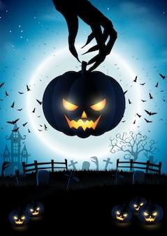 Zucca di halloween con sfondo di notte e la luna piena.