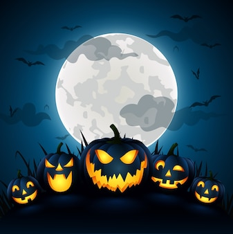Zucca di halloween con una luna blu, illustrazione vettoriale