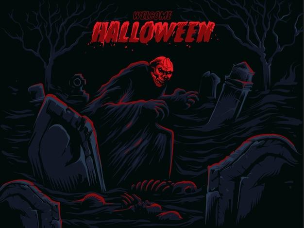 Zucca di halloween di fronte al fantasma e al castello nell'ombra.