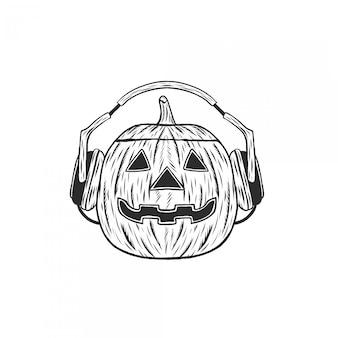 Zucca di halloween disegno a mano inciso