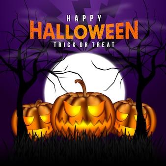 Zucca di halloween e vettore dell'albero con la luna