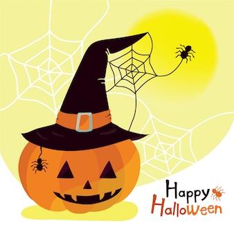 Zucca di halloween felice che porta il cappello della strega con il ragno
