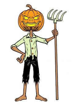 Zucca di halloween in piedi tenere la forchetta