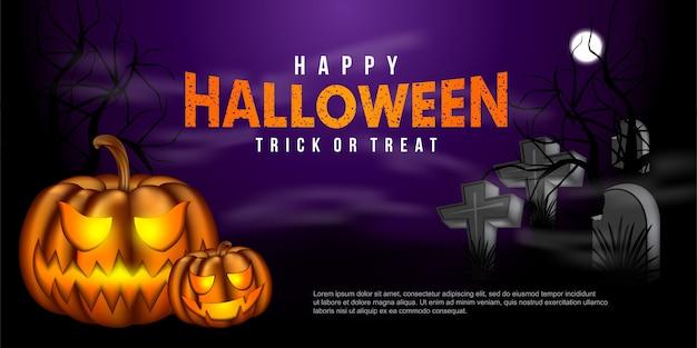Zucca di halloween in una tomba con un'atmosfera nebbiosa