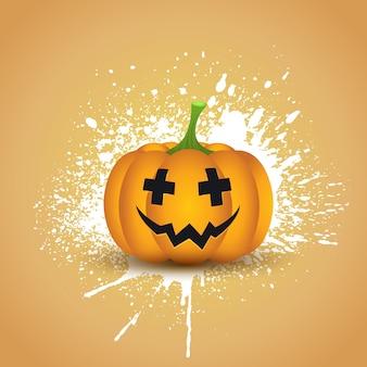 Zucca di halloween su uno sfondo di splatter grunge