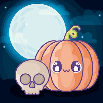 Zucca di halloween sulla scena di halloween