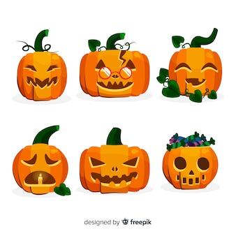 Zucca di jack o lantern con gambo e foglie per halloween