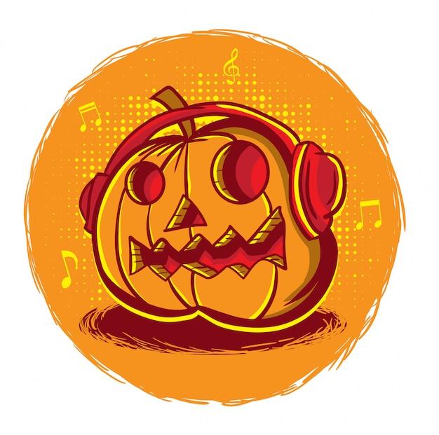 Zucca di musica mostro di halloween con auricolare