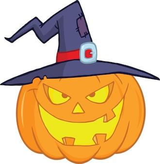 Zucca diabolica di halloween con un'illustrazione del fumetto del cappello della strega