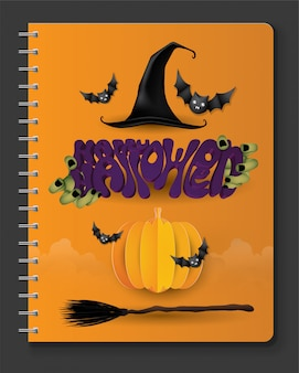 Zucca e pipistrelli spaventosi, fondo felice di halloween.
