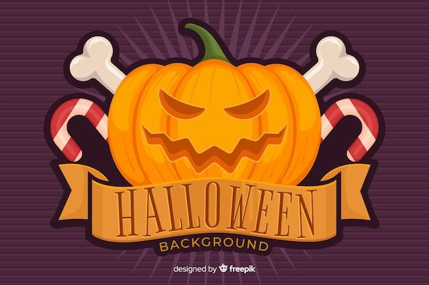 Zucca halloween sfondo in design piatto