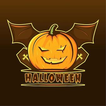 Zucca terrificante con l'illustrazione di logo dell'ala del pipistrello halloween