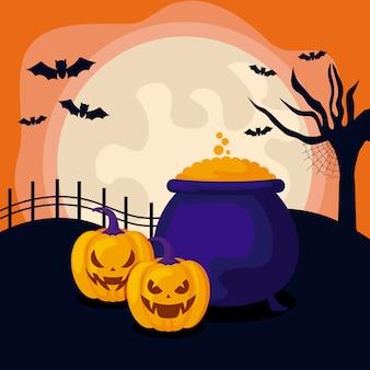 Zucche con calderone della strega nella scena di halloween