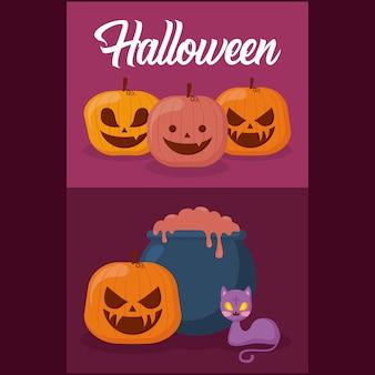Zucche con il concetto di halloween