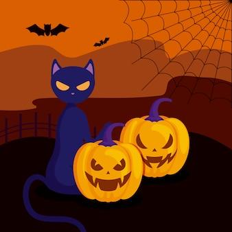 Zucche con il gatto nella scena di halloween