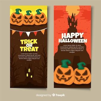 Zucche con steli piatti banner di halloween