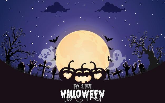 Zucche di halloween con la foresta spettrale di notte