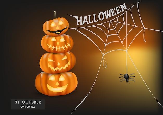 Zucche di halloween e sfondo web spider