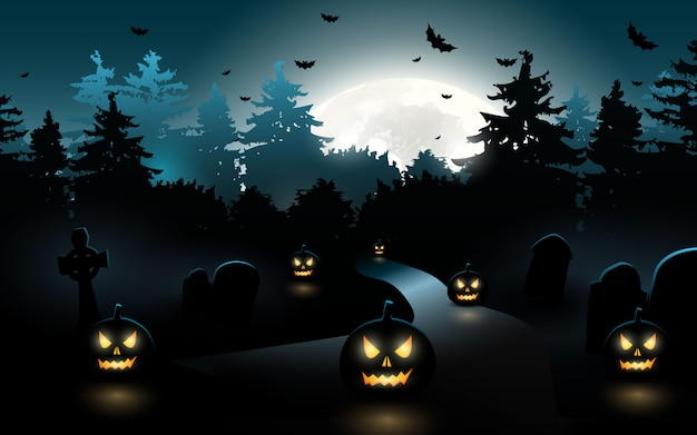 Zucche di halloween. priorità bassa di halloween alla foresta di notte con la luna