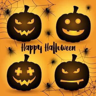 Zucche di halloween sullo sfondo