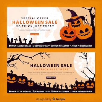 Zucche di halloween vintage banner di halloween