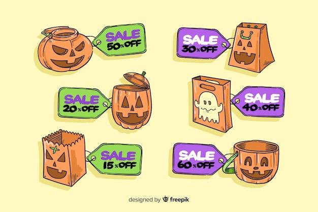 Zucche divertenti di halloween da vendere la raccolta del distintivo