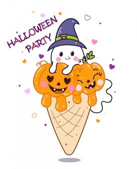 Zucche e fantasma svegli in cono gelato.
